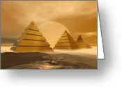 Tutankhamen Greeting Cards - Pyramids Greeting Card by Corey Ford