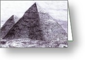 Pyramid Drawings Greeting Cards - Pyramids in Egypt Giza Ancient Egypt Greeting Card by Benjamin Blankenbehler