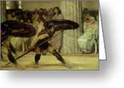 Routine Greeting Cards - Pyrrhic Dance Greeting Card by Sir Lawrence Alma-Tadema