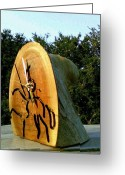 Red Cedar Sculpture Greeting Cards - Qijote bark clock Greeting Card by Calixto Gonzalez