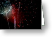 Pyrotechnics Greeting Cards - Quad Streak Greeting Card by Paul Mangold