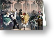 Grooving Greeting Cards - Quadrille at the Bal Bullier Greeting Card by G Barry