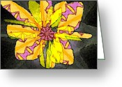 Abstract Flower Greeting Cards - Quadruplets Flowers 4 Greeting Card by Navo Art