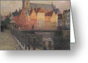 Canals Painting Greeting Cards - Quai de la Paille Greeting Card by Paul Albert Steck