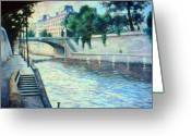 Paris Pastels Greeting Cards - Quais by the Seine Greeting Card by Rose Wark
