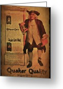 Oats Greeting Cards - Quaker Quality Greeting Card by Bill Cannon