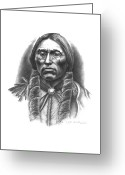 Native Drawings Greeting Cards - Quannah Parker Greeting Card by Lee Updike