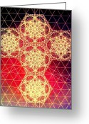 Sacred Geometry Greeting Cards - Quantum Cross Hand Drawn Greeting Card by Jason Padgett