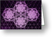 Rectangle Greeting Cards - Quantum Snowfall Greeting Card by Jason Padgett