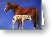 Bay Horse Greeting Card Greeting Cards - Quarter Horse Mare and Palomino Foal Portrait Greeting Card by Olde Time  Mercantile
