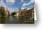 Rosary Greeting Cards - Quay of the Rosary in Bruges Belgium Greeting Card by Louise Heusinkveld
