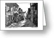 Residential Drawings Greeting Cards - Quay Street Lymington Greeting Card by Peter Smith