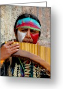Canadian Photographer Greeting Cards - Quechuan Pan Flute Player Greeting Card by Al Bourassa
