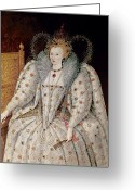 Tiara Greeting Cards - Queen Elizabeth I of England and Ireland Greeting Card by Anonymous
