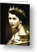 Royalty Digital Art Greeting Cards - Queen Elizabeth II Greeting Card by Bill Cannon