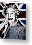 Ludzska Greeting Cards - Queen Elizabeth II Greeting Card by Luis Ludzska