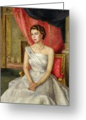 Sat Greeting Cards - Queen Elizabeth II  Greeting Card by Lydia de Burgh