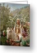 King Arthur Greeting Cards - Queen Guinevere Greeting Card by John Collier
