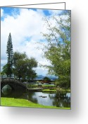 Foot Bridge Greeting Cards - Queen Liliuokalani Park and Japanese Gardens  Hilo Hawaii 2 Greeting Card by Kerri Ligatich