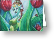 Fairies Greeting Cards - Queen Maeves Realm Greeting Card by Lori Kuhn