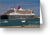 Sailing Fast Greeting Cards - Queen Mary 2 Greeting Card by Louise Heusinkveld