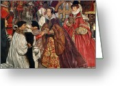 Bowing Greeting Cards - Queen Mary and Princess Elizabeth entering London Greeting Card by John Byam Liston Shaw