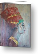 Queen Greeting Cards - Queen Nefertiti Greeting Card by John Henne