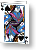 Playing Cards Greeting Cards - Queen of Spades - v3 Greeting Card by Wingsdomain Art and Photography
