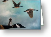Surrealist Greeting Cards - Queen Of The Canada Geese by Shawna Erback Greeting Card by Shawna Erback