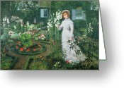Jardin Painting Greeting Cards - Queen of the Lilies Greeting Card by John Atkinson Grimshaw
