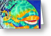 Caribbean Sea Tapestries - Textiles Greeting Cards - Queen Parrotfish Greeting Card by Daniel Jean-Baptiste