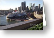 Sydney Harbour. Circular Quay Greeting Cards - Queen Victoria berthed in Sydney Greeting Card by Kaye Menner