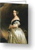 British Royalty Painting Greeting Cards - Queen Victoria Greeting Card by Franz Xaver Winterhalter