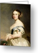Britain Painting Greeting Cards - Queen Victoria Greeting Card by Franz Xavier Winterhalter