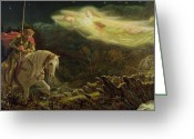 Knights Greeting Cards - Quest for the Holy Grail Greeting Card by Arthur Hughes