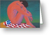 Patriotism Painting Greeting Cards - Questioning Patriotism Greeting Card by Frank Strasser