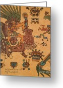 Mesoamerican Greeting Cards - Quetzalcoatl, Aztec Feathered Serpent Greeting Card by Photo Researchers