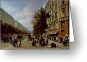 Versailles Greeting Cards - Queueing at the Door of a Grocery Greeting Card by Jacques Guiad