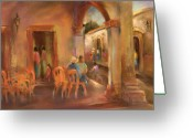 Colonial Scene Greeting Cards - Quiet Afternoon Greeting Card by Joan  Jones