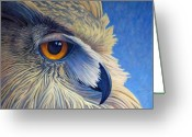 Owl Greeting Cards - Quiet Joy Greeting Card by Brian  Commerford