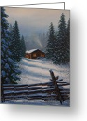 Split Rail Fence Painting Greeting Cards - Quiet Refuge Greeting Card by Jake Vandenbrink