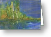 Blues Greeting Cards - Quiet Stream  Greeting Card by Carolyn Doe