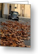 Old Car Pyrography Greeting Cards - Quiet Streets of Arezzo Greeting Card by Lily Haas