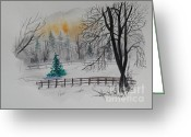 Greeting Card Greeting Cards - Quiet Winter Day Greeting Card by Alla Dickson