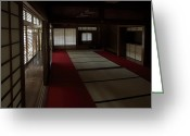 Shoji Screen Greeting Cards - QUIETUDE of ZEN MEDITATION ROOM - KYOTO JAPAN Greeting Card by Daniel Hagerman