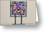 Traditional Glass Art Greeting Cards - Quilt Greeting Card by Mark Lubich