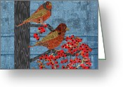 Blue Quilts Greeting Cards - Quilted Birds Greeting Card by Kim Prowse