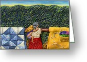 Blue Quilts Greeting Cards - Quilted Harvest Greeting Card by Anne Klar