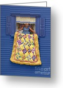 Blue Quilts Greeting Cards - Quilted Showing Greeting Card by Anne Klar