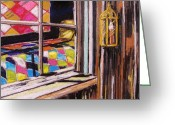 Blue Quilts Greeting Cards - Quilts in the Window Greeting Card by John  Williams